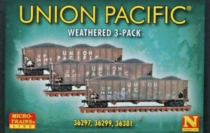 UP. N Scale Micro Trains Line 3 pack 3 Bay Hoppers w/- Coal Loads. Weathered New