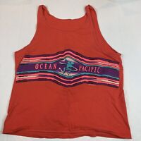 Ocean Pacific Tank Top Mens Small Vintage Blue 80s 90s OP Surf 50/50 USA Neon
