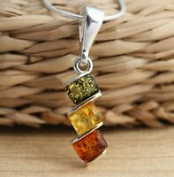 Multicolour Baltic Amber 925 Sterling Silver Pendant Necklace Snake Chain