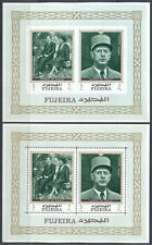 Fujeira 1970 France. General Charles de Gaulle, 2 s/sheets PERF. + IMP. MNH