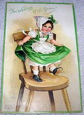 Vintage Ellen Clapsaddle Girl on Chair, St Patrick's Day Postcard