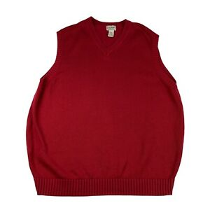 L.L. Bean Knitted Vest Mens XL Red Tank Top Pullover Sweater
