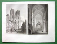 BELGIUM Brussels Interior & Exterior of St. Gudule Church - 1857 Antique Print