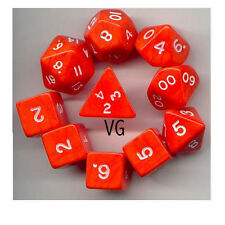 RPG Dice 10pc - Opaque Orange  - 1 @ D4 D8 D10 D12 D20 D00-10 & 4 D6