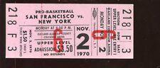Nov 2 1970 NBA Basketball Full Ticket San Francisco vs New York Knicks EXMT+