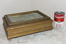 """Antique Wooden Jewelry Box with Mirror, Beautifully Carved, 11-3/8"""" x 8-1/2"""""""