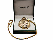 """Primemax:""""Gold Classic Car"""" Pocket Watch,Gold Finish,With Chain"""