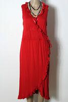 OASIS Kleid Gr. L lang rot wadenlang ärmellos Shirt Kleid mit Rüschen