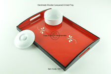 Handmade Wooden Tray, Rectangular Lacquered Decorative Tray, Red, Small, H051S