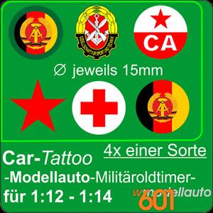 4x Aufkleber Modellauto Hoheitszeichen DDR NVA oder CA Sowjetarmee oder GST o.ä.