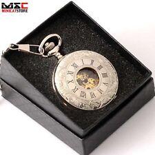 Antique Windup Mechanical Skeleton Double Hunter Pocket Watch Steampunk Gift Box