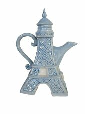 NEW BLUE SKY EIFFEL TOWER LIGHT BLUE,WHITE CERAMIC TEAPOT,TEA,COFFEE POT 15720