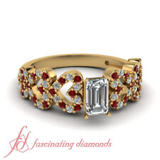 1 Ct Emerald Cut Heart Style Pave Set Diamond Rings With Round And Ruby Accents