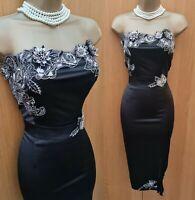 UK 12 Karen Millen Black Silk 3D Floral Embroidered Beaded Oriental Pencil Dress
