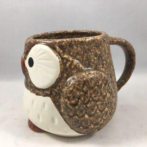 "Kotobuki Japanese 3.25""H Porcelain Brown Owl Tea Coffee Cup Mug Made In Japan"
