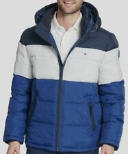 $495 Tommy Hilfiger Mens Blue Quilted Puffer Hooded...