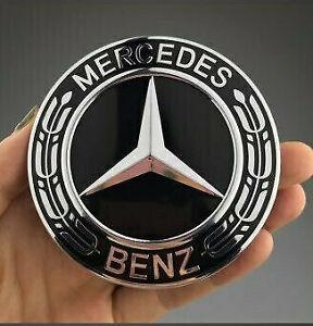 Mercedes Benz Alloy Wheel Centre Cap 75mm Badge FULL BLACK Hub Emblem-Fit All