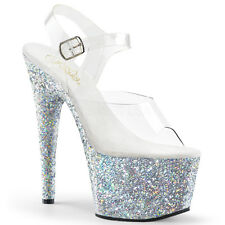 "7"" Light Purple Sparkly Platform Stripper Pole Dance Class Shoes size 8 9 10 11"