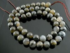 "Natural Pyrite in Quartz Gray Gold Gemstone 8mm Round Beads Strand 16"" 50 Beads"