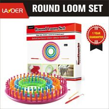 LAYOER Round Knitting Looms Set Craft Kit Tool with Hook Needle 4 Piece