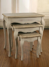 Nest of 3 Tables French Provincial Grey Wash Side Lamp Tables New Furniture