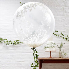 """GIANT WHITE Confetti Filled BALLOONS 36"""" inch ~ Luxury Quality ~3 Pack ~ Wedding"""