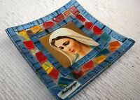 Murano Glass Decoration Plate with Our Lady Picture From Medjugorje 5.3 inc