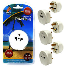 Sure Travel EU Plug Convertor Multi Pack, Euro USA to UK 3 Pin Plug Adaptor x 6