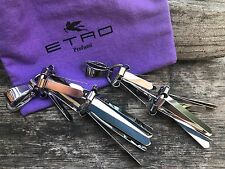 ETRO Statement Couture Stainless Steel Silver Spike Clip Earrings MSRP $500 RARE