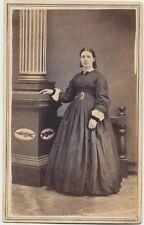 1860s CDV PHOTO FULL STANDING FASHION HOOP DRESS LADY CIVIL WAR REVENUE STAMP 65