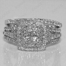 Certified 2.00 Ct. Diamond Princess Cut Engagement Rings 14k White Gold.