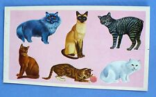 VINTAGE DENNISON CATS 6 STICKER 1 SHEET SIAMESE,TABBY,PERSIAN
