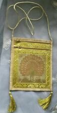 """Hand Made Lovely Shoulder Bag With Peacock On 6.3/4 """" x 8"""" Approx Gold Coloured"""
