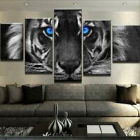 Blue Eyed Tiger 5 panel canvas Wall Art Home Decor Poster Print