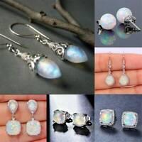 Women 925 Sterling Silver Opal Earrings Dangles Drop Stud Earring Xmas Jewelry