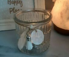 Glass Tealight Candle Holder with Feather & Tassel
