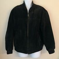 JOHN ASHFORD SUEDE LEATHER JACKET BOMBER FULL ZIP Black Lined Vintage Men's Sz M
