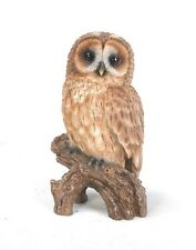 TAWNY OWL ON STUMP LIFE LIKE REALISTIC FIGURINE STATUE HOME GARDEN DECOR