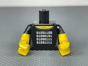 LEGO Minifigure Female Torso Black Shirt White Binary Code Necklace Yellow Arms