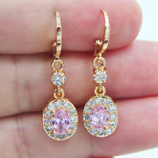 18K Yellow Gold Filled Girls Oval Adorable Pink Topaz Zircon Dangle Earrings