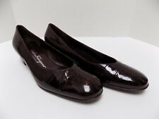 Salvatore Ferragamo Low Heel Pumps Brown Embossed Leather Size 6.5B