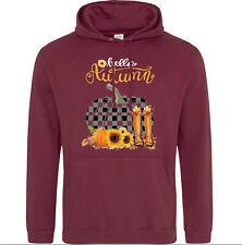 Unisex Hello Autumn Cosy Seasonal Hoody Burgundy