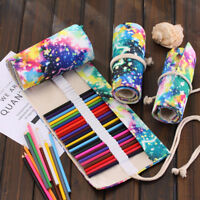FA- KQ_ 36/48/72 Hole Portable Wrap Roll Up School Artistic Drawing Pencil Case