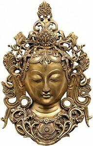 """Kwan Yin Bodhisattva Goddess Tara Mask Buddha Wall Hanging Decor 12.5"""" Brass"""