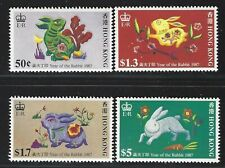 1987 Hong Kong Scott #482-85 - New Year - Year of the Hare Set of 4 - MNH