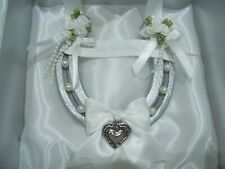 REAL LUXURY WEDDING HORSESHOE SILVER SPARKLE & WHITE &  ANTIQUED SILVER HEART