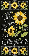 You Are My Sunshine Chalkboard Panel-Sunflowers-Bees-Timeless Treasures