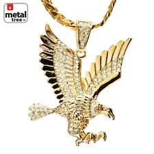 Men's 14k Gold Plated CZ Iced Eagle Pendant Miami Cuban Chain Necklace BCH 13585
