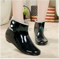 Womens Ankle Rain Boots Outdoor Waterproof Low Heels Boots Pull On Jelly Shoes