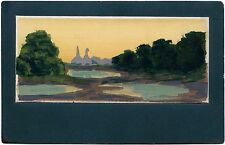 ORIGINAL LANDSCAPE WATERCOLOR/GOUACHE PAINTING ON ca 1900's ANTIQUE POSTCARD